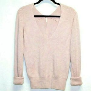 Free People dusty pink vneck ribbed knit sweater